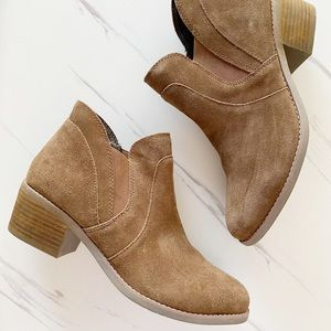 Me Too Chocolate Brown Faux Suede Ankle Booties